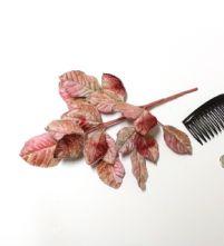 Vintage Dusky Pink Tonal Velvet Rose Leaves